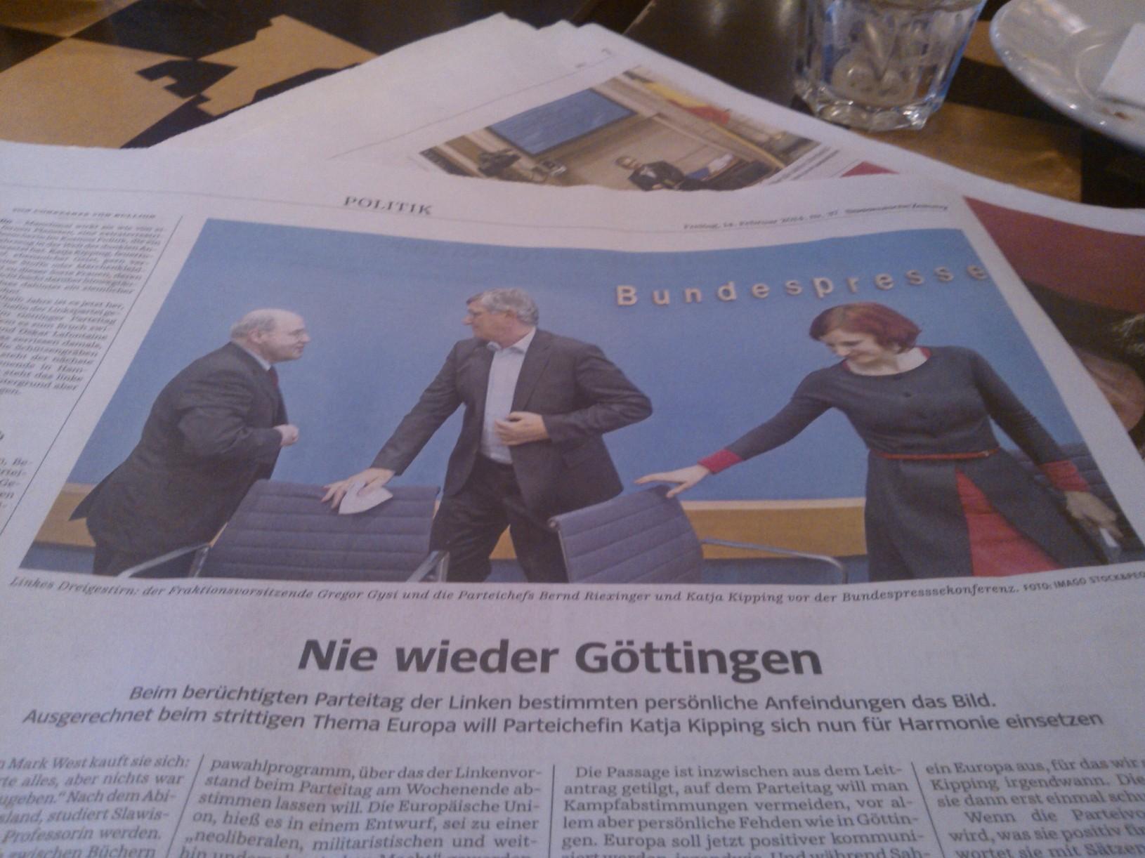 """SZ: """"Nie wieder Göttingen"""" und weitere Artikel zu """"die Linke"""" in ZEIT, SPIEGEL und FAZ"""